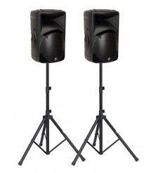 Mackie SRM450 V2, Black, Pair with Stands (factory refurbished)