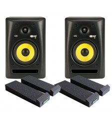 KRK RP5 G2 Rokit active studio monitor (pair) with Auralex Mopads  