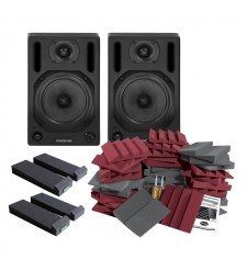 Sonodyne SM50AK Studio Monitors and Auralex Room Kit Bundle 