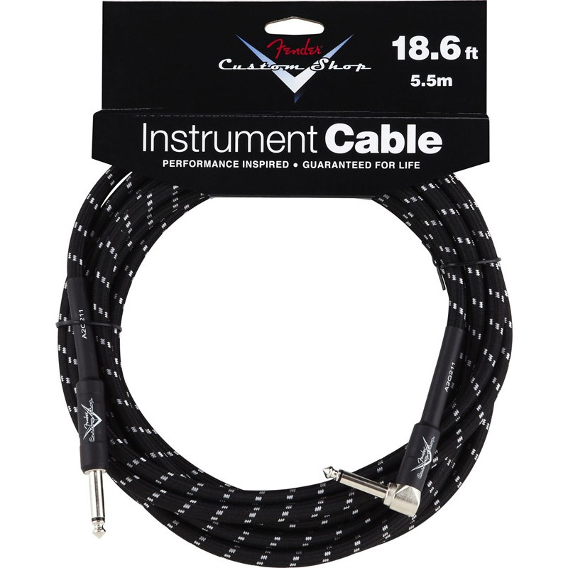 Fender Custom Shop 18.6 foot /5.5 metre Angled Jack to Jack Cable, Black Tweed