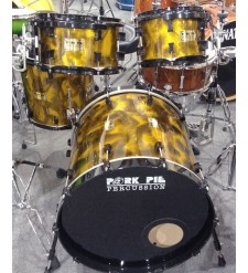 Pork Pie Custom Yellow Sparkle Scorched Drum Kit,10,12,14, 22 (Pre-Owned)