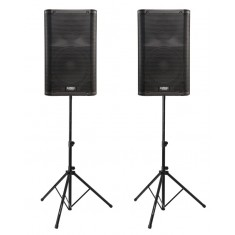 QSC K10 Active PA Speakers, Stands and Cables Bundle
